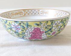Chinoiserie bowl, Imari bowl, gold Imari, asian bowl, hand painted bowl, floral bowl, vintage imari, antique imari, imari ceramic bowl