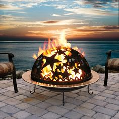 Starry Night fire dome fire pit for a backyard... And that view... I'd like that view too, please!