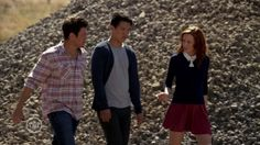 Love the Librarians Cassandra's look with sweater over a full skater skirt and knee high socks and boots