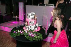 Zebra & Monkey Bat Mitzvah Cake (Party by The Event of a Lifetime) - mazelmoments.com