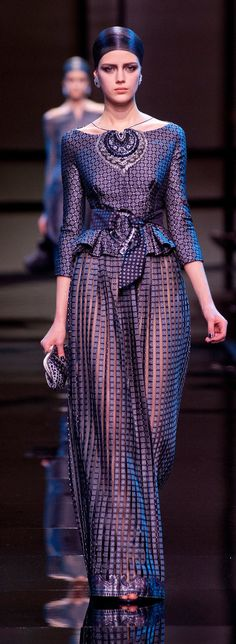 Armani Privé 2014 SS Couture - Purple lilac and lavander three-quarter sleeves jacket with pants