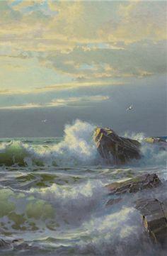 """William Trost Richards (1833-1905) ~ """"Off Conanicut, Newport"""", 1904 (Détail) ~ Oil on Canvas"""