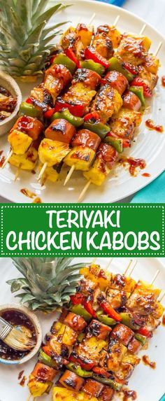 Teriyaki chicken pineapple kabobs are a fun and flavorful recipe for the grill or oven with tender chicken peppers fresh sweet pineapple and an easy teriyaki sauce that d. Teriyaki Chicken, Chicken Kabob Marinade, Chicken Kabob Recipes, Kebab Recipes, Grilling Recipes, Cooking Recipes, Teriyaki Sauce, Oven Chicken Kabobs, Oven Kabobs