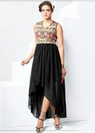 Party Wear Black Georgette Embroidered Work Kurti