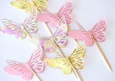 yellow pink green floral paper cupcake toppers with by ksenchik30, $3.20