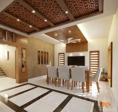 Line Builders & Interiors : Line's Interior Design. Wooden Ceiling Design, Simple False Ceiling Design, Interior Ceiling Design, House Ceiling Design, Ceiling Design Living Room, Bedroom False Ceiling Design, Home Ceiling, Floor Design, Living Room Designs