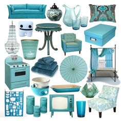 Turquoise - Interior Design, created by jordanclarke on Polyvore
