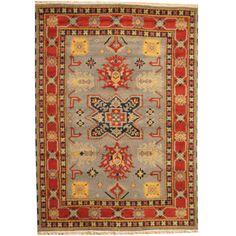 Herat Oriental Indo Hand-knotted Tribal Kazak Gray/ Rust Wool Rug (5'10 x 8')
