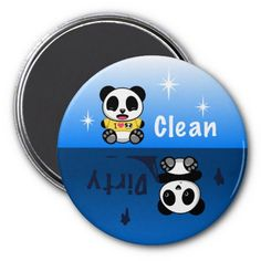 SOLD! Clean Dirty Panda Dishwasher Magnet $4.30 #cute #panda #kawaii