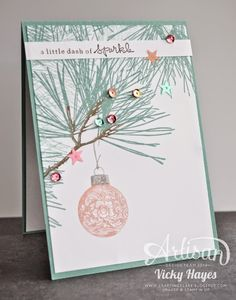 Stampin' Up ideas and supplies from Vicky at Crafting Clare's Paper Moments: A sparkling Christmas with Ornamental Pine by Stampin' Up