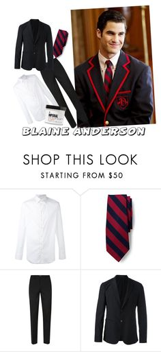"""Blaine Anderson Inspired"" by datnerdyfangirl ❤ liked on Polyvore featuring Armani Collezioni, Lands' End, Topman, Emporio Armani, Imperial Barber Products, men's fashion, menswear, school, black and polyvorefashion"