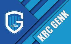 Download wallpapers KRC GENK, 4k, Belgian football club, blue abstraction, logo, material design, Genk, Belgium, football, Jupiler Pro League