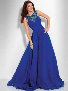 New Slim Empire A-line Royal Chiffon Long Dresses