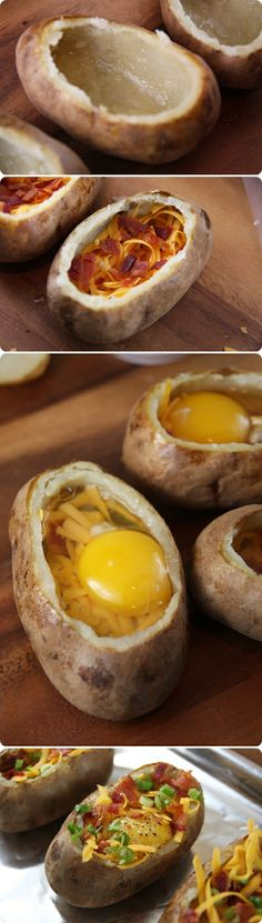Egg-Stuffed baked Potatoes  different but looks pretty good