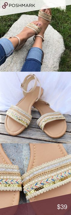 NEW Boho Beaded Beige Sandal Flats •Bohemian Casual Beaded and Braided Single Strap Sandals are perfect for a day out in the sun or an outdoor concert! These Scream Coachella! • •Brand New In Box •  •Adjustable Ankle Strap• •All Vegan Materials • •Fitment: Shoe runs true to size •    www.thefairyden.com  free shipping and promo code available on my website! Shoes Sandals