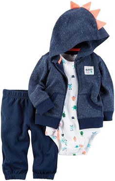 Little Jacket Set Designed for all-day play, dressing is easy with this ready-to-wear matching set. Featuring a zip-up French terry jacket and pants, this set is complete with a coordinating cotton bodysuit. Little Boy Outfits, Toddler Outfits, Baby Boy Outfits, Kids Outfits, Baby Boy Cardigan, Baby Girl Pants, Baby Boy Fashion, Kids Fashion, Carters Baby Boys