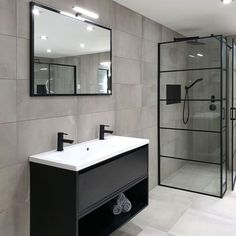 ICHOICE black&white industrieel badkamermeubel zwevend beton black&white dubbel greeploos ide… in 2020 Modern Master Bathroom, Modern Bathroom Design, Bathroom Interior Design, Bathroom Styling, Small Bathroom, Bad Inspiration, Bathroom Inspiration, Bathroom Inspo, Cottage Style Bathrooms