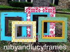 set of four distressed frames damask, quatrefoil, hollywood squares, and super distressed --multi sizes