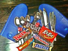 Mules N' Honey: The Candy Bar Game Supplies - Candy Bars, Metal spoons/knives, oven mitts, random clothes, dice