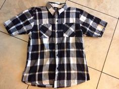Hart and Huntington M Plaid Black White Mens Button Down Shirt | eBay