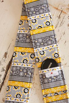 Camera strap cover w/ lens cap pocket- Modern Gray and Yellow- The Poppy Shoppe