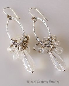 I like the large silver oval!!--Large Faceted Clear Crystal teardrops topped with sterling silver & moonstone & crystal nuggets and hammered silver link dangle earrings | online upscale artisan handcrafted jewelry boutique | Schaef Designs gemstone & pearl earrings | San Diego, CA