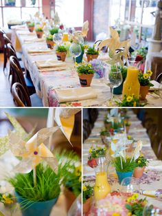 like the flower pots w/ chalkboard paint. Use for place cards, etc.  Also the pots with grass and pinwheels.  So fresh.