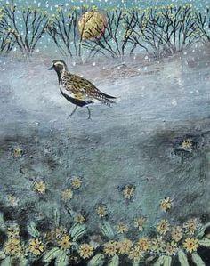 Misty Primrose Plover. Mixed Media. 21x27cms. Ingeborg Smith. £360 Artist Profile, Illustration Art, Illustrations, Folk Art, Graphic Art, Birds, Hyde, Gallery, Mixed Media