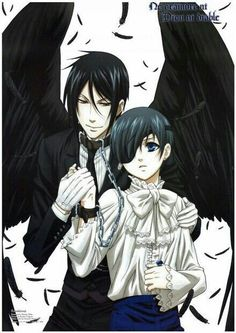 Sebastian, dark angel, black, feathers, Ciel, chains; Black Butler