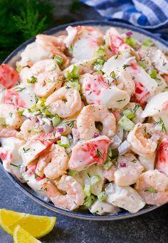 Great Salad Recipes, Sea Food Salad Recipes, Shrimp Salad Recipes, Shrimp Dishes, Potluck Recipes, Fish Recipes, Seafood Recipes, Cooking Recipes, Healthy Recipes