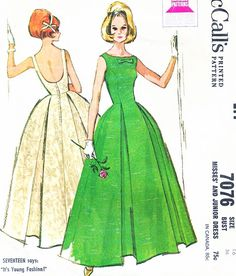 1960s BEAUTIFUL Evening Party Gown Dress Pattern McCALLS 7076 Bateau Neckline Low U Back Flattering Inverted Pleats Bust 34 Vintage Sixties Sewing Pattern