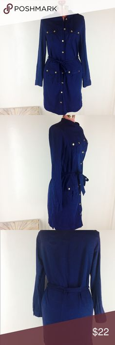 Tommy Hilfiger Navy Belted Shirtdress 100% cotton Tommy Hilfiger shirtdress with belt. Gold buttons complement navy. Four pockets. Long sleeve, but lightweight. Dress is in excellent condition.  Measurements:  Armpit to armpit: 19 inches Shoulder to hem: 38 inches Tommy Hilfiger Dresses Midi