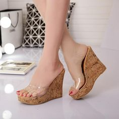 New Women Summer Clear Platform Sandals Open Toe High Wedge Heels Slippers Shoes Jelly Shoes Outfit, Sexy Legs And Heels, Fashion Boots, Punk Fashion, Lolita Fashion, Flip Flop Shoes, Hot Shoes, Womens Slippers, Womens High Heels