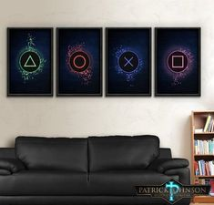Playstation One Two Three Four Art Sony Playstation . Gamer room ideas Playstation One Two Three Four Art Sony Playstation Buttons Print Set you can find similar pins below. We have brough. Boys Game Room, Boy Room, Kids Room, Gamer Bedroom, Video Game Rooms, Video Game Decor, Video Games, Gaming Room Setup, Gaming Rooms