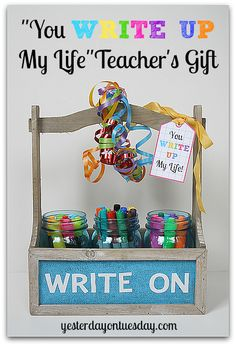 You Write Up My Life Teacher's Gift with free printable and supplies from @officedepot #inspiredstudents #teacherschangelives #PMedia #ad