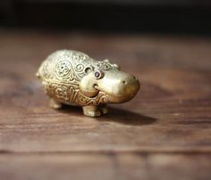 *1960 Vintage Brass Hippo Shaped Max Factor Perfume Locket