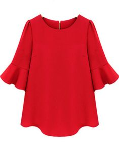 Red Ruffle Half Sleeve Loose Chiffon Blouse US$17.71