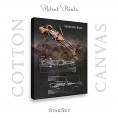 Star Wars Speeder Bike Patent professionally printed on museum quality cotton canvas. Speeder Bike canvas is available in various sizes and background colors. Wall Art Decor, Wall Art Prints, Poster Prints, Medical Photos, Star Wars Prints, Vintage Medical, Star Wars Tshirt, Star Wars Poster, Patent Prints