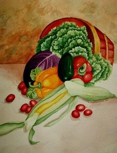 Bounty Vegetable Basket  Limited Edition by CSchmauderWatercolor,