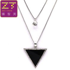 2016 Hot new Big Triangle Pendant Necklace Multilayer Necklace crystal Maxi statement Necklace long necklace for women jewelry