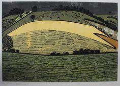 Graham Clarke - 'Hayfield, Timberden' - an original pencil signed colour linocut