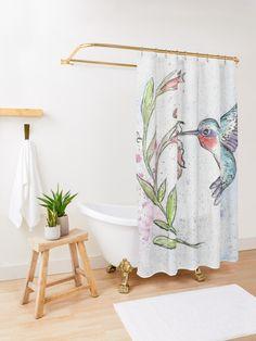 Winsome Hummingbird Shower Curtain #watercolor #ink #bird #hummingbird #vine #spring #bath #showercurtain #redbubble