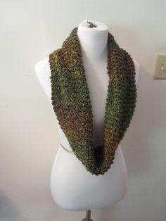 Hand Knit Green  Brown Homespun Infiniti Scarf Snood by PoppyLesti, $30.00