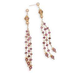 14 Karat Gold Plated Tourmaline Bead Drop Earrings