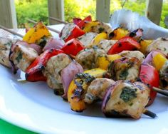 Basil Pesto Balsamic Chicken Skewers - Great summer grilling recipe with pesto (spinach and basil), peppers and red onion wedges!