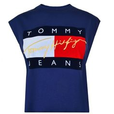 Tommy Jeans Flock Crop T Shirt ($45) ❤ liked on Polyvore featuring tops, t-shirts, blue, cropped tops, blue crop top, crop tee, crew neck tee and sleeveless t shirt