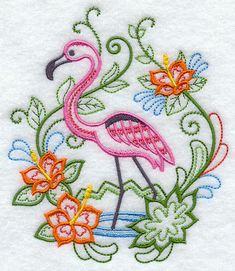 Vintage Flamingo Garden Embroidered Quilt Square (Etsy)