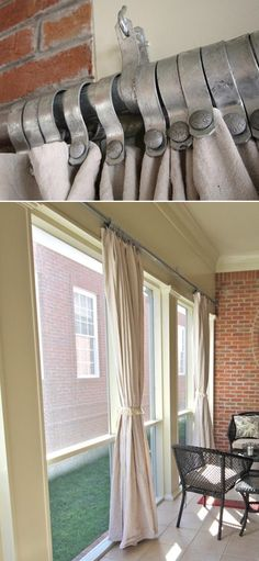 {porch curtains made with rust-resistant chain-link fencing hardware and canvas painter's drop cloths. I tried the drop cloths on my porch in south Florida and mold is a definite issue :( Porch Curtains, Outdoor Curtains, Privacy Curtains, Canvas Curtains, Sewing Curtains, Diy Balkon, Outdoor Spaces, Outdoor Living, Backyard Privacy
