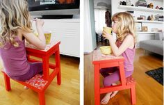 Sometimes you just need to distract your kids when you have chores to do around the house. We get it. Lucky for you, this stool is the perfect size for a child to slip through and use as a mini table (and, um, we kinda want an adult-sized one, too). See more at Baby Ramen »