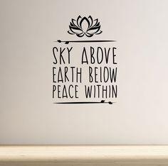 910362aca73 Sky Above Yoga Wall Decal Quote Lotus Flower Meditation Health Spiritual  Namaste